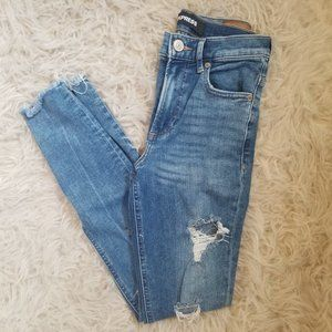 Express High Rise Leggings Ripped Jeans
